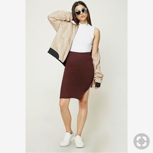 Forever 21 ribbed midi skirt with high side slit